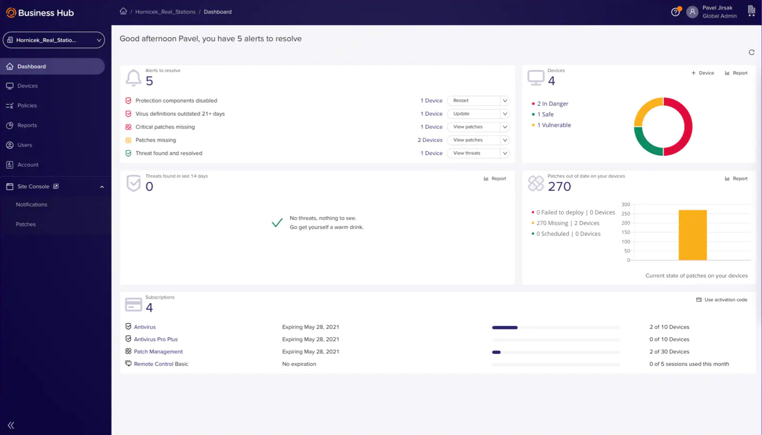 Dashboard Avast Business Hub